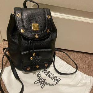 MCM Mini Backpack Black Leather